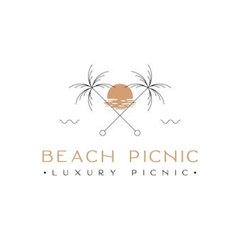 Beach palm with sunset logo design inspiration