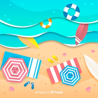 Beach in paper style