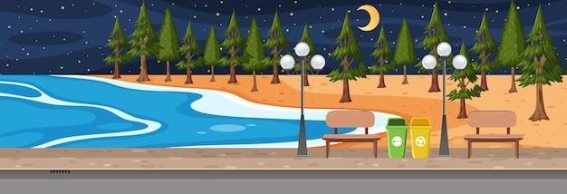 Горизонтальная сцена пляжного парка в ночное время