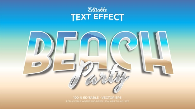 Beach party 3d retro style editable text effects