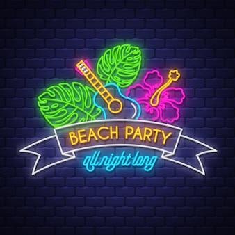 Beach party all night long, neon lettering