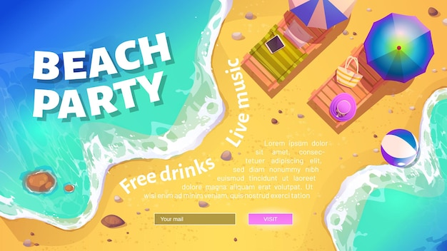 Beach party banner with summer sea shore with sunbeds and umbrellas.