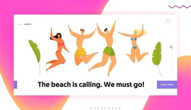Празднование пляжной вечеринки. группа счастливых молодых людей персонажей в купальных костюмах, прыгающих с поднятыми руками, летние каникулы. мультфильм плоский баннер