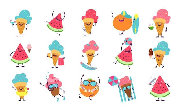 Beach party characters with funny faces swimming playing sunbathing