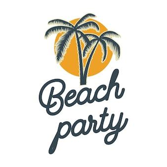 ビーチパーティー。手のひらのエンブレム。ロゴ、ラベル、サイン、ポスター、tシャツのデザイン要素。