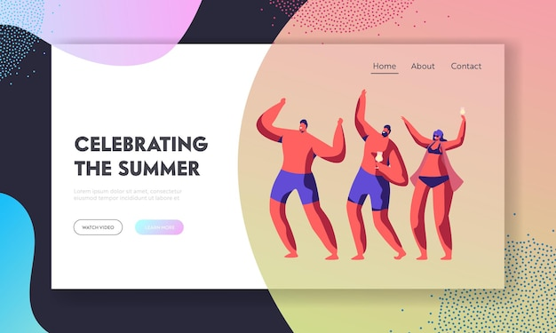 Beach party on exotic tropical resort. website landing page template