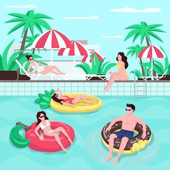ビーチパーティーフラットカラーイラスト。魅力的な女性は日光浴します。エアマットレスで日焼けする男。カクテルを飲む人。ヤシの木と植物の背景に観光客2d漫画のキャラクター