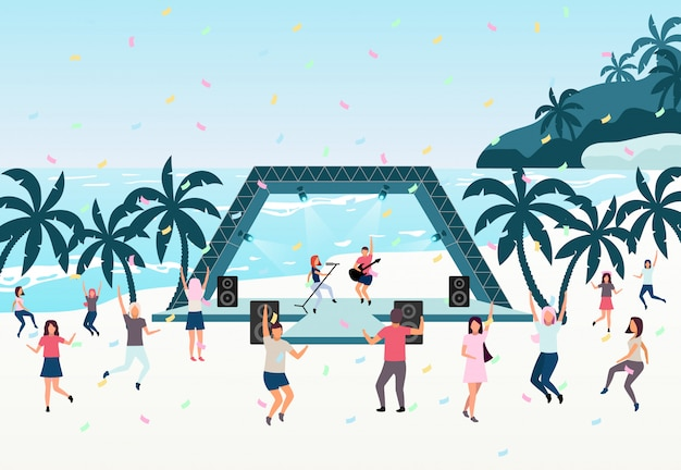 Beach party flat illustration. open air live performance.