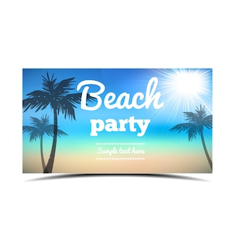 Beach party flyer - vector design beautiful background