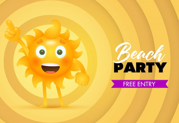 Beach party, free entry lettering with sun cartoon character