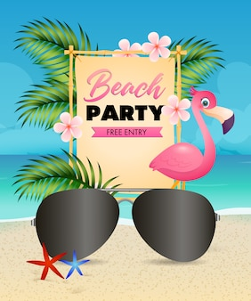 Beach party lettering, flamingo, flowers and sunglasses