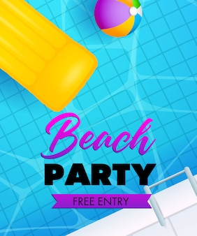Beach party lettering, swimming pool water, air mattress and ball