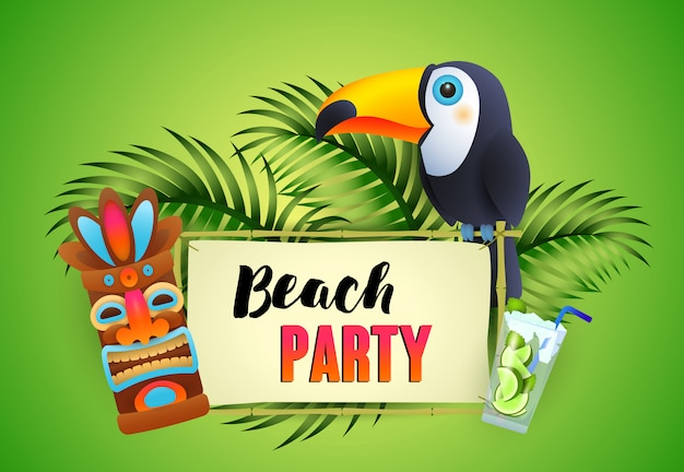 Beach party lettering, toucan, cocktail and tribal mask