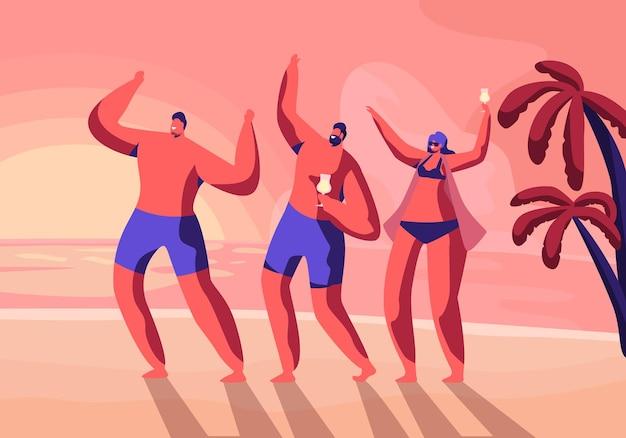 이국적인 열대 리조트에서 해변 파티. 만화 평면 그림