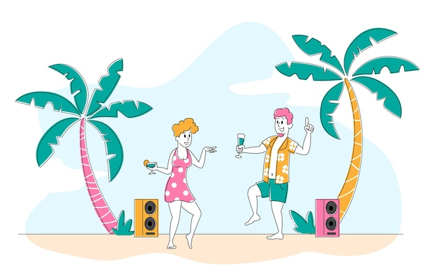 エキゾチックトロピカルリゾートのビーチパーティー