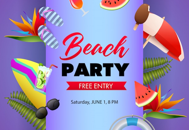 Beach party poster design. flip-flops, watermelon