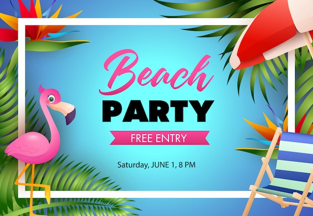 Beach party poster design. pink flamingo, beach chair