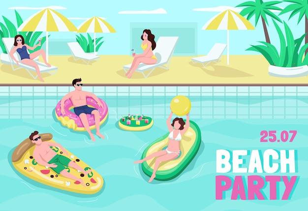 Плоский шаблон плаката пляжной вечеринки. развлечения и напитки на берегу моря. люди играют в мяч в бассейне. брошюра, буклет на одну страницу концептуального дизайна с героями мультфильмов. флаер летнего отдыха, буклет