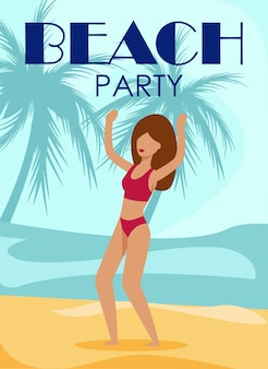 Beach party poster with dancing woman in bikini