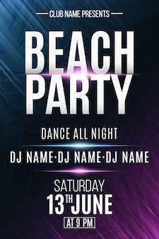 Beach party poster with neon light effect. dj and club name.