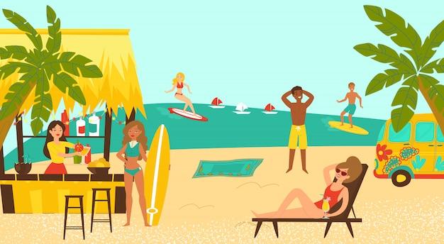 ビーチパーティーサーフィン沿岸、熱帯の海辺の漫画イラストをサーフィン女性の男性キャラクター。ビーチフロントのカクテルバー。