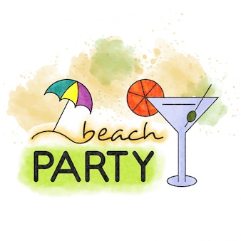 Beach party. watercolor summer lettering