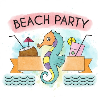 Beach  party. watercolor summer poster