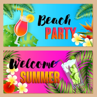 Beach party, welcome summer letterings set with cocktails