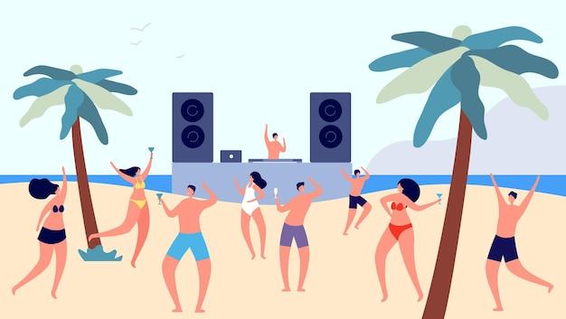 해변 파티. 음악을 듣고 술을 마시는 어린 소녀 소년