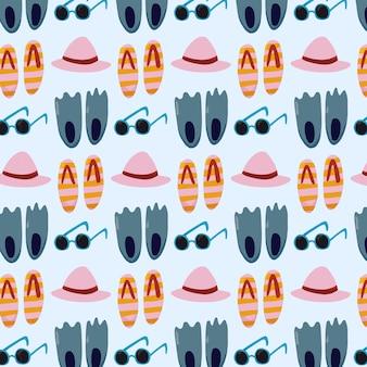 サングラスの帽子とサンダルのビーチパターン