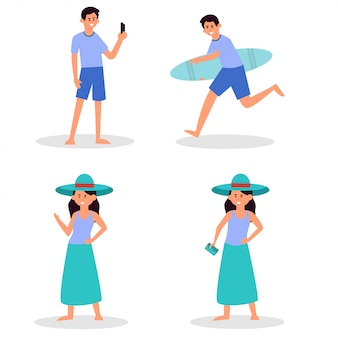 Beach people. couple holiday vacation, sunbathing on beach and happy friends summer fun. traveler characters, play volley, swimmer surfboard tourism