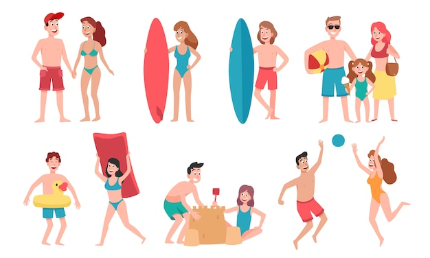 Beach people. family holiday vacation, sunbathing on beach and happy friends summer fun cartoon   illustration