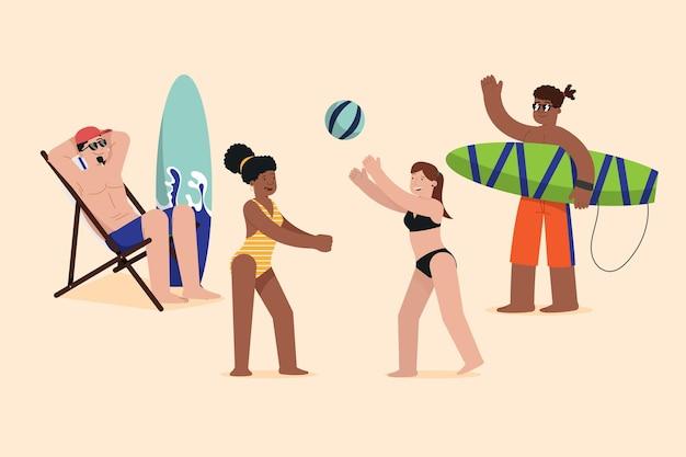 Concetto dell'illustrazione della gente della spiaggia