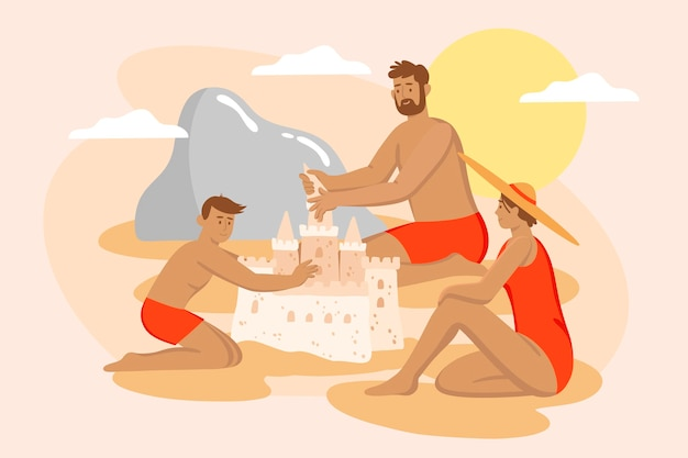 Beach people illustration concept
