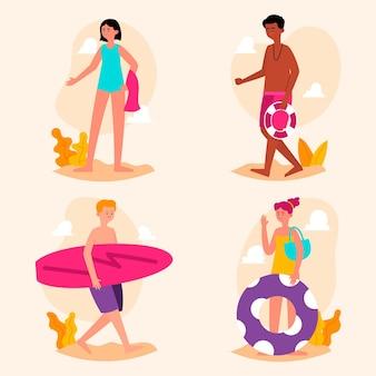 Концепция иллюстрации людей пляжа