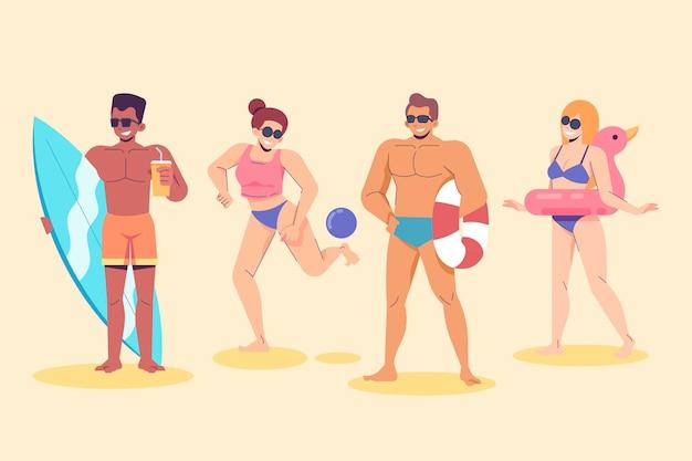 Пляжные люди упаковывают вещи