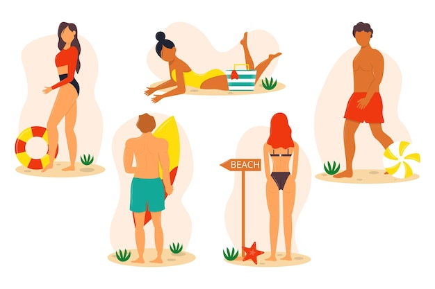 Пакет людей пляжа