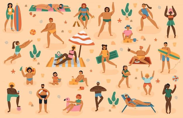 해변 사람들. 여름 모래 해변 휴가, 남자, 여자, 일광욕, 놀이, 수건 일광욕 그림 세트에 누워 아이들과 가족. 여름 모래 해변, 바다 휴식 리조트