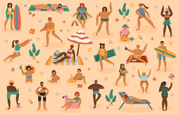 Beach people. summertime sand beach vacation, man, woman, family with kids sunbathing, play, lying on towels sunbath  illustration set. summer sand beach, sea relax resort