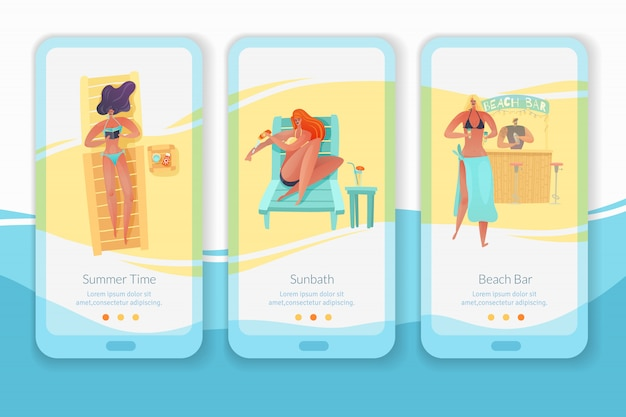 Beach people vertical mobil app banners set