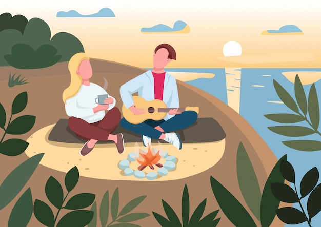 Beach picnic flat color illustration