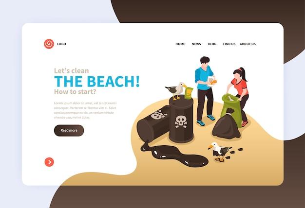 Шаблон целевой страницы загрязнения пляжа с волонтерами, собирающими мусор в мешки на пляже