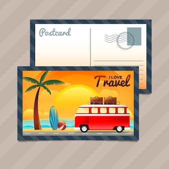 Beach postcard with car in gradient style