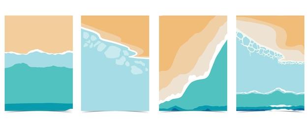 낮에는 태양, 바다, 하늘이 있는 해변 엽서