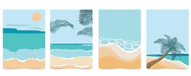 昼間の太陽、海、空のビーチポストカード