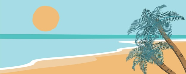 Beach postcard with sun,sea and sky in the daytime