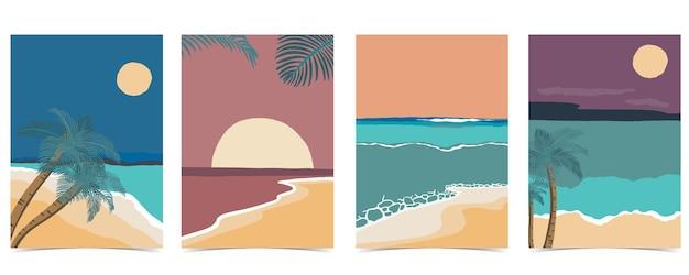 Beach postcard with sun,sea and sky in the nighttime