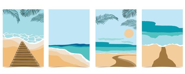 낮에는 태양과 하늘이 있는 해변 엽서