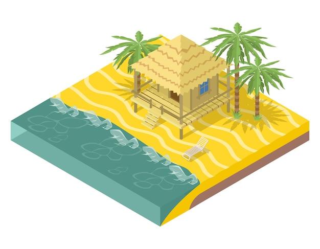 해변 부동산. 등각 투영 뷰에서 바다에 야자수가있는 집