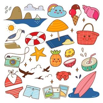 Пляж связанный объект kawaii каракули векторные иллюстрации
